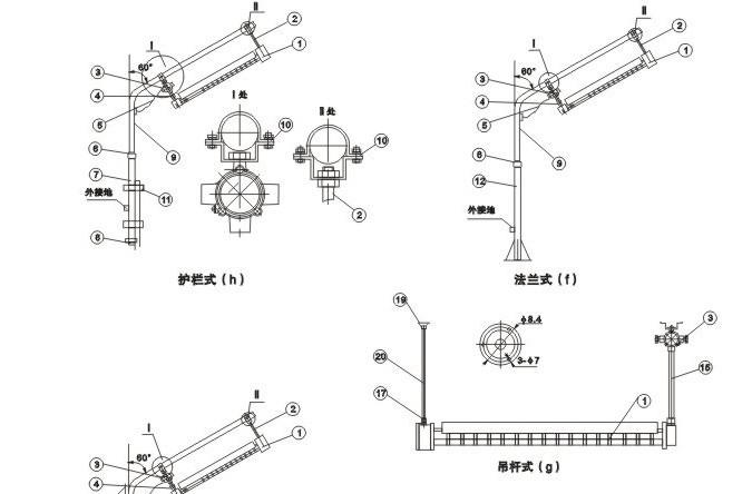 cby51防爆荧光灯外形图及安装尺寸: 1 灯具  11 u型管夹 2 杆m8
